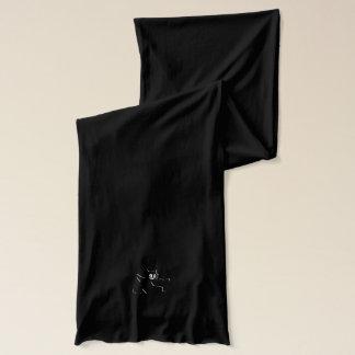 Black Horned Grinning Gremlin Imp, embossed-look Scarf