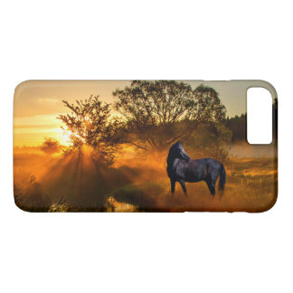 Black horse at sunrise or sunset Case-Mate iPhone case