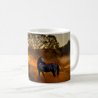 Black horse at sunrise or sunset coffee mug