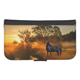 Black horse at sunrise or sunset samsung s4 wallet case
