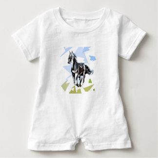 Black horse baby romper