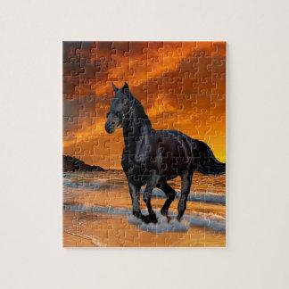 BLACK HORSE, BLACK STALLION, RUNNING AND FREE JIGSAW PUZZLE
