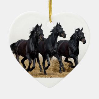 Black horse ceramic ornament