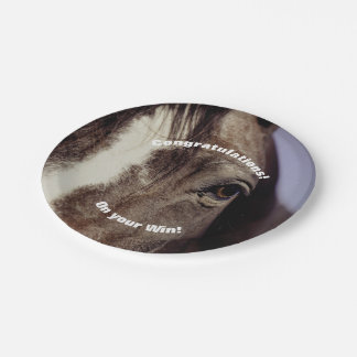Black Horse Face with Eye 7 Inch Paper Plate