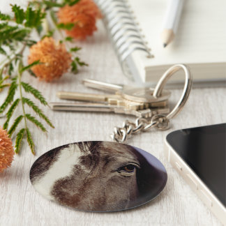 Black Horse Face with Eye Basic Round Button Keychain