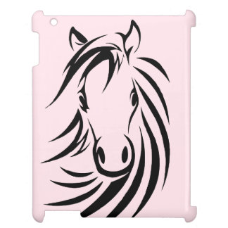 Black Horse Head  on Pink iPad Case