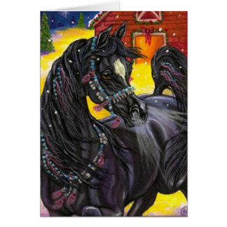 BLACK HORSE Holiday Barn Note Card