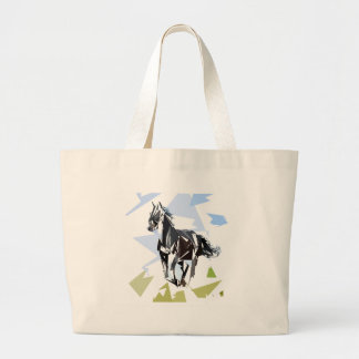Black horse large tote bag
