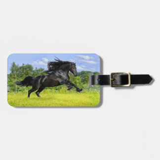 Black Horse Luggage Tag With Leather Strap