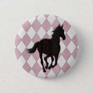 Black Horse on Pink White Diamond Pattern 2 Inch Round Button