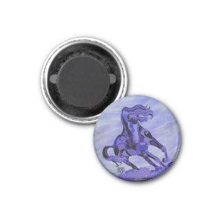 Black Horse on Purple Background Magnet