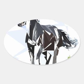 Black horse oval sticker