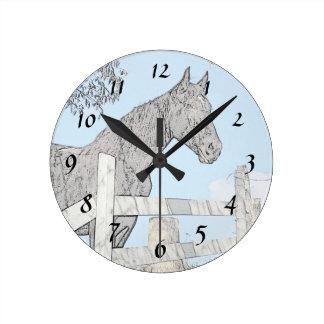 Black Horse Round Clock