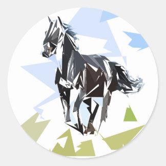 Black horse round sticker