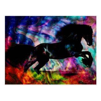 Black Horse Running Though Abstract Fire Postcard