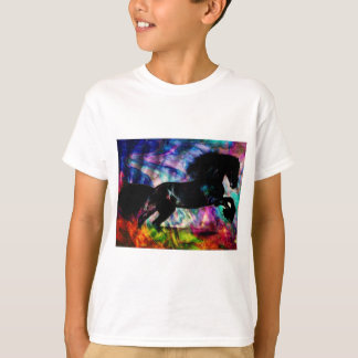Black Horse Running Though Abstract Fire T-Shirt