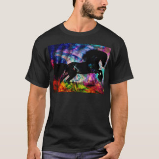 Black Horse Running Though Abstract Fire T-Shirt
