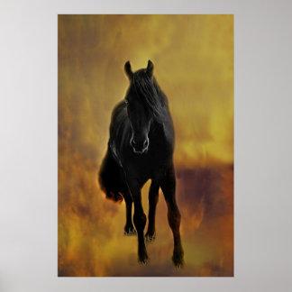 Black Horse Silhouette Poster