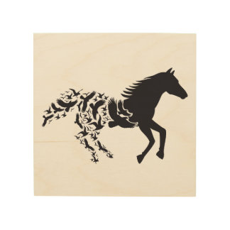 Black horse silhouette with flying birds wood canvas
