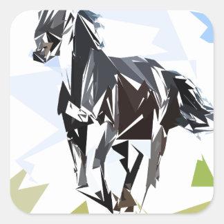Black horse square sticker