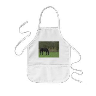 Black Horse standing Kids Apron