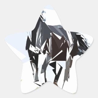 Black horse star sticker