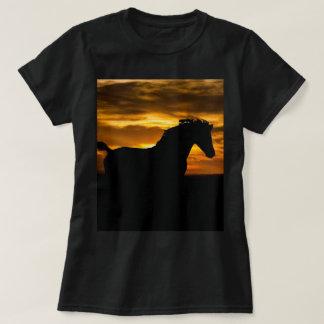 Black Horse Sunset Silhouette T-Shirt