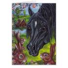 BLACK HORSE Wild Rabbits Note Card