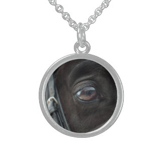 Black Horse's Eye Sterling Silver Necklace