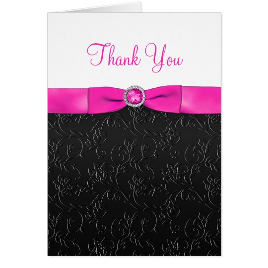 Black, Hot Pink and White Thank You Card
