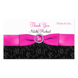 Black, Hot Pink, and White Wedding Favor Tag Pack Of Standard Business Cards