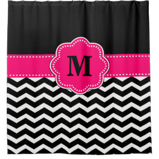 Black hot pink chevron Monogram