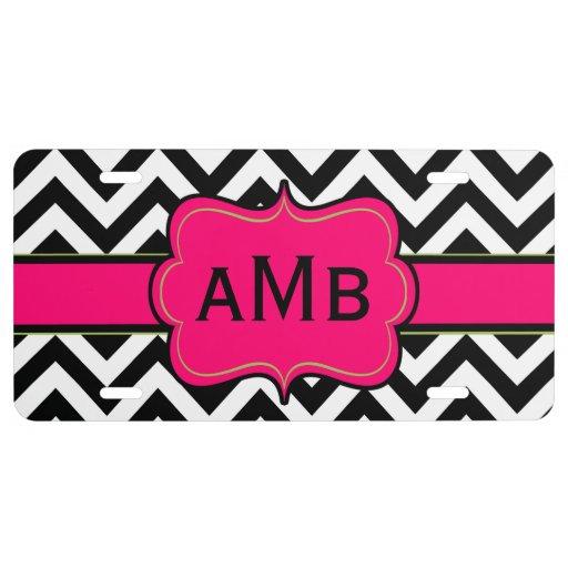 Black Hot Pink Chevron Monogram License Plate