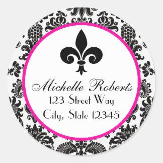 Black &Hot Pink Damask Fleur De Lys Address Label Round Sticker