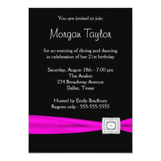 Black Hot Pink Diamond 21st Birthday Party Card
