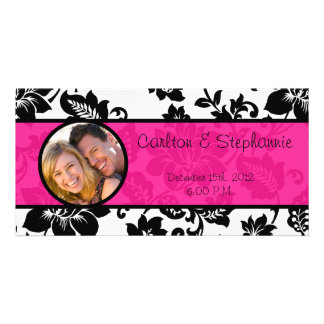 Black/Hot Pink Floral Damask Photo Announcement Card