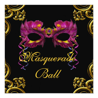 Black Hot Pink Masquerade Party Invitations