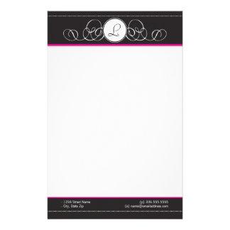 Black Hot Pink Monogram Stationery