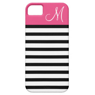 Black & Hot Pink Preppy Stripes Custom Monogram iPhone 5 Case