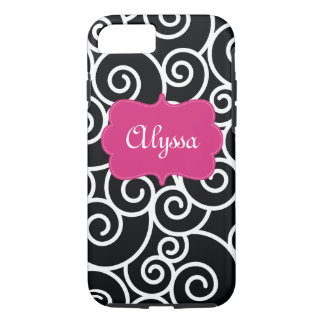 Black Hot Pink Swirl Phone Case