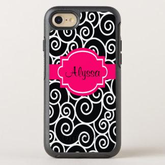 Black Hot Pink Swirls OtterBox Symmetry iPhone 8/7 Case