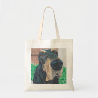 black hound dog tote bag