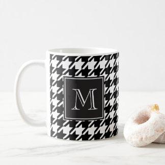 Black Houndstooth Monogram Coffee Mug