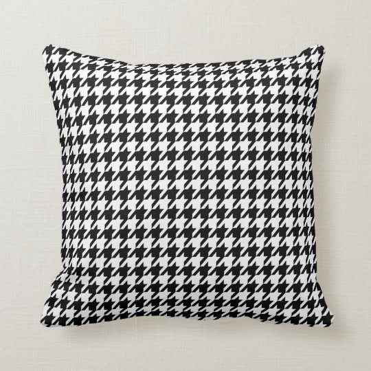 Black Houndstooth Throw Pillow