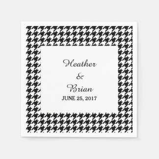 Black Houndstooth Wedding Paper Napkins
