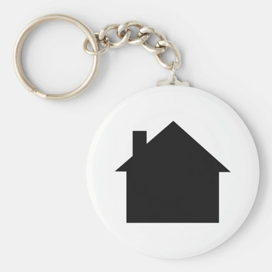 black house icon basic round button keychain