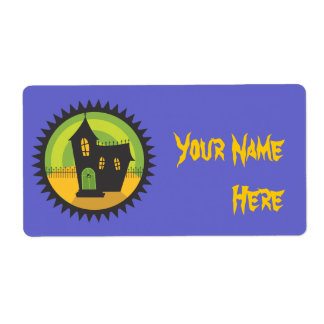 Black House in Black Circle Shipping Label