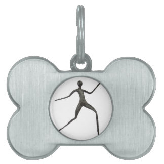 Black human wax model on white background pet ID tags