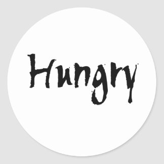 Black Hungry Round Sticker