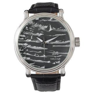 Black Ice Black Leather Wrist Watch